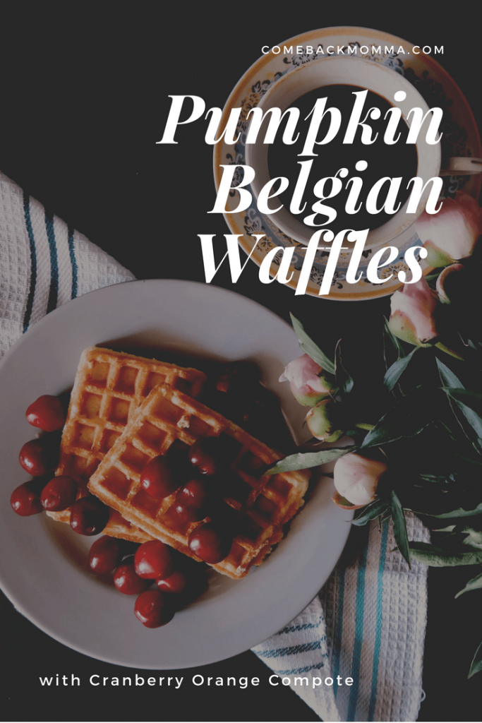 Pumpking Belgian waffles with cranberry orange compote