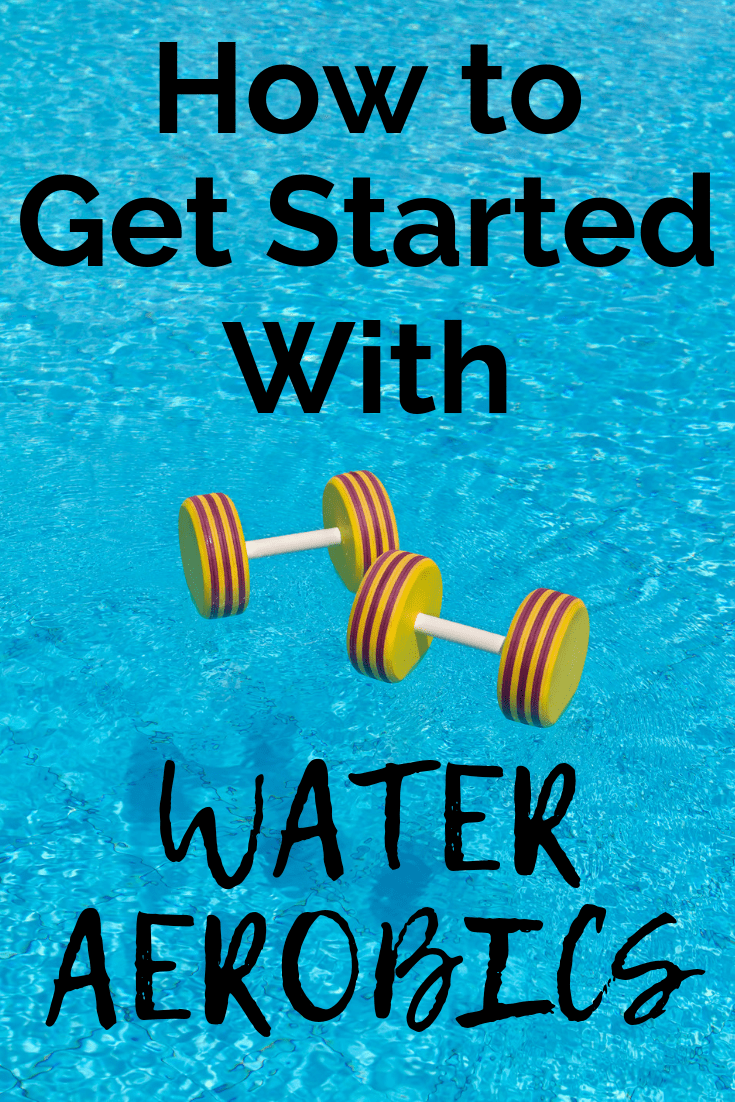 A pool with water weights and a text overlay about getting started with water aerobics