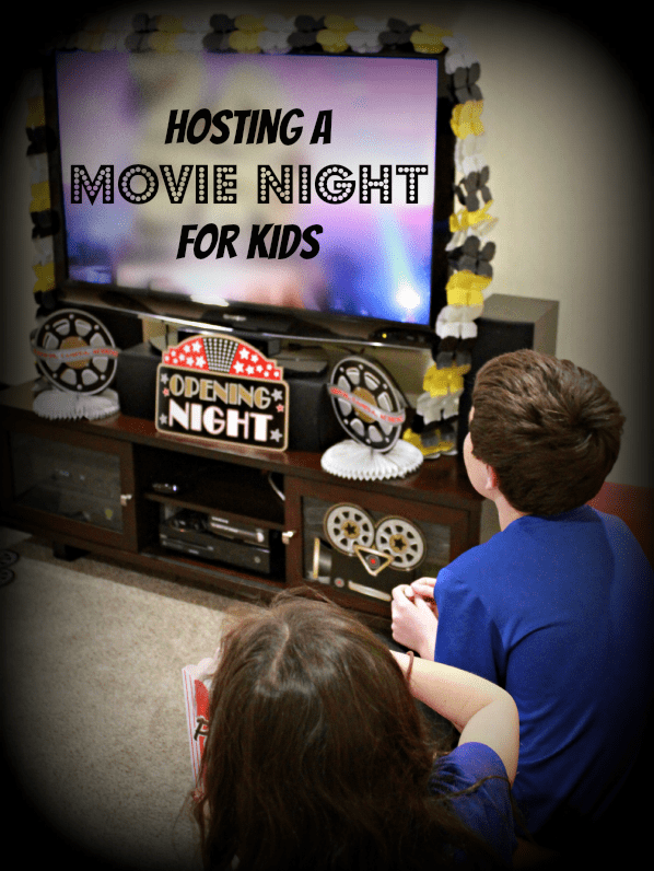 Children watching a TV for kids movie night