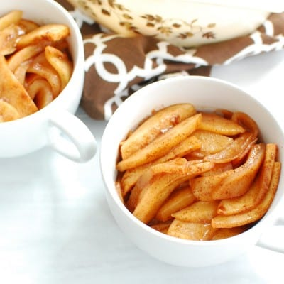 Healthy baked cinnamon apples in a mug