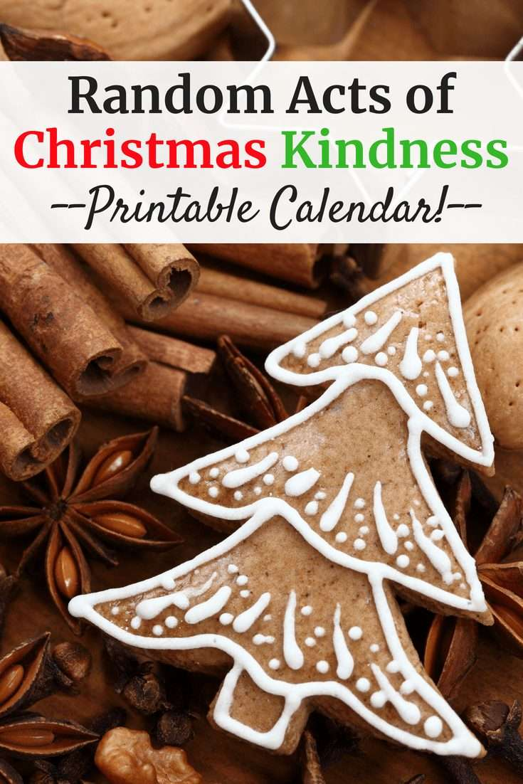 Gingerbread cookie with a text overlay about random acts of christmas kindness