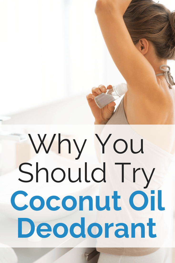A woman putting on coconut oil deodorant