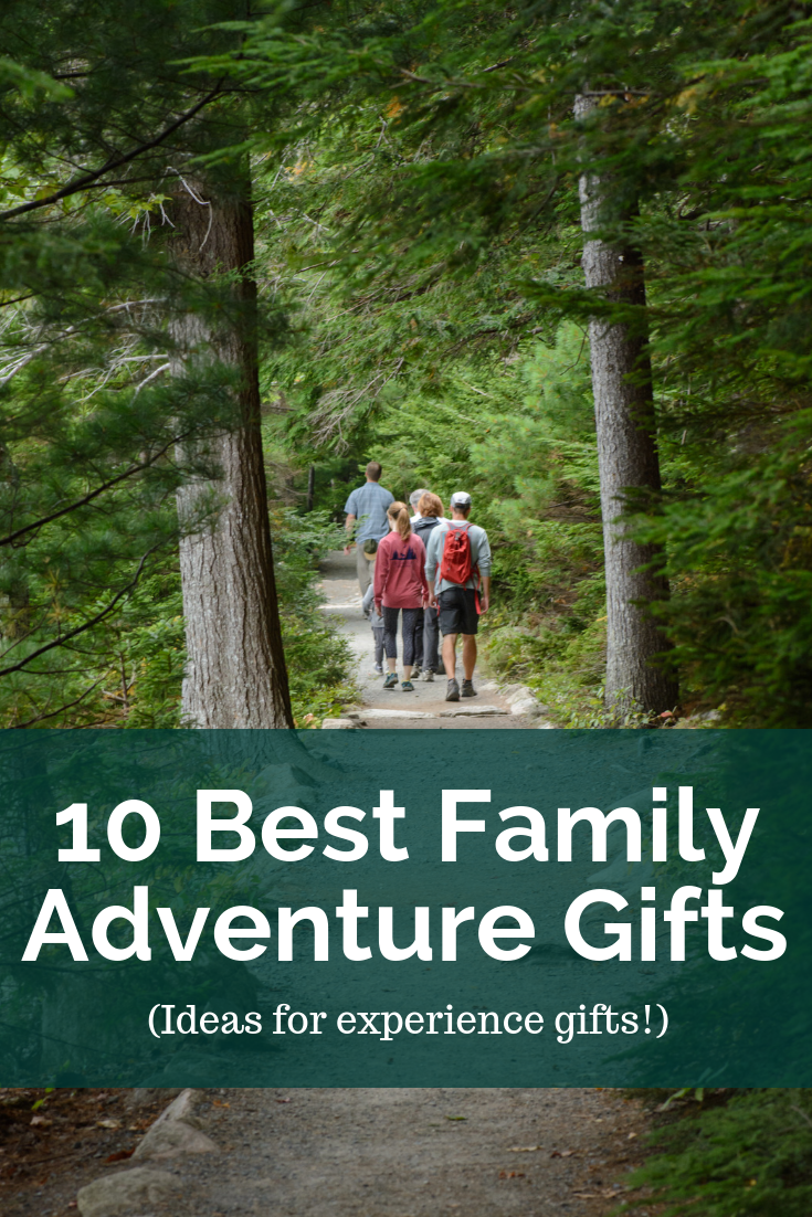 A family hiking in the woods with a text overlay about adventure gifts