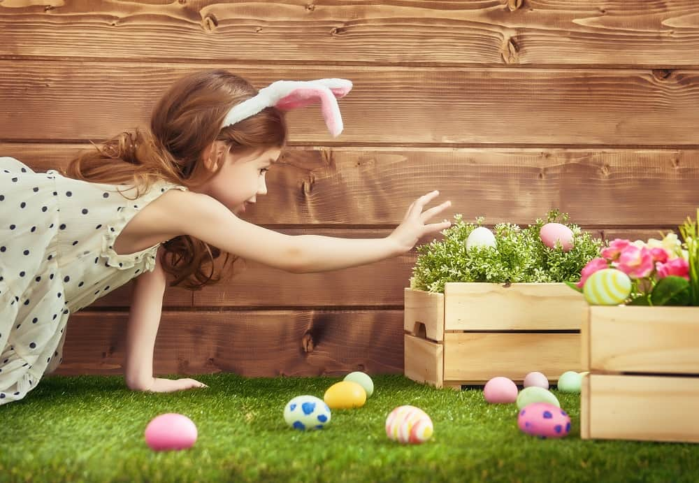A little girl hunting for eggs, presumably at a Boston Easter event