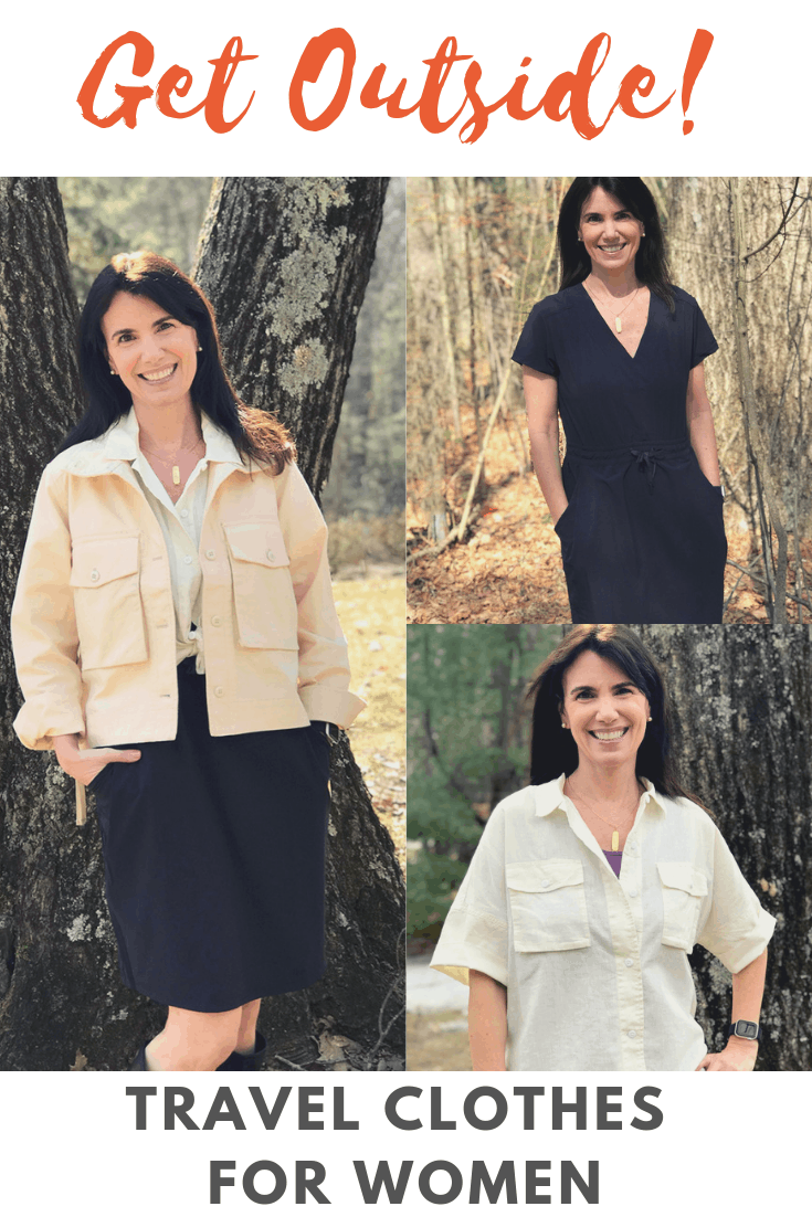 Woman in three outfits of travel clothes from REI