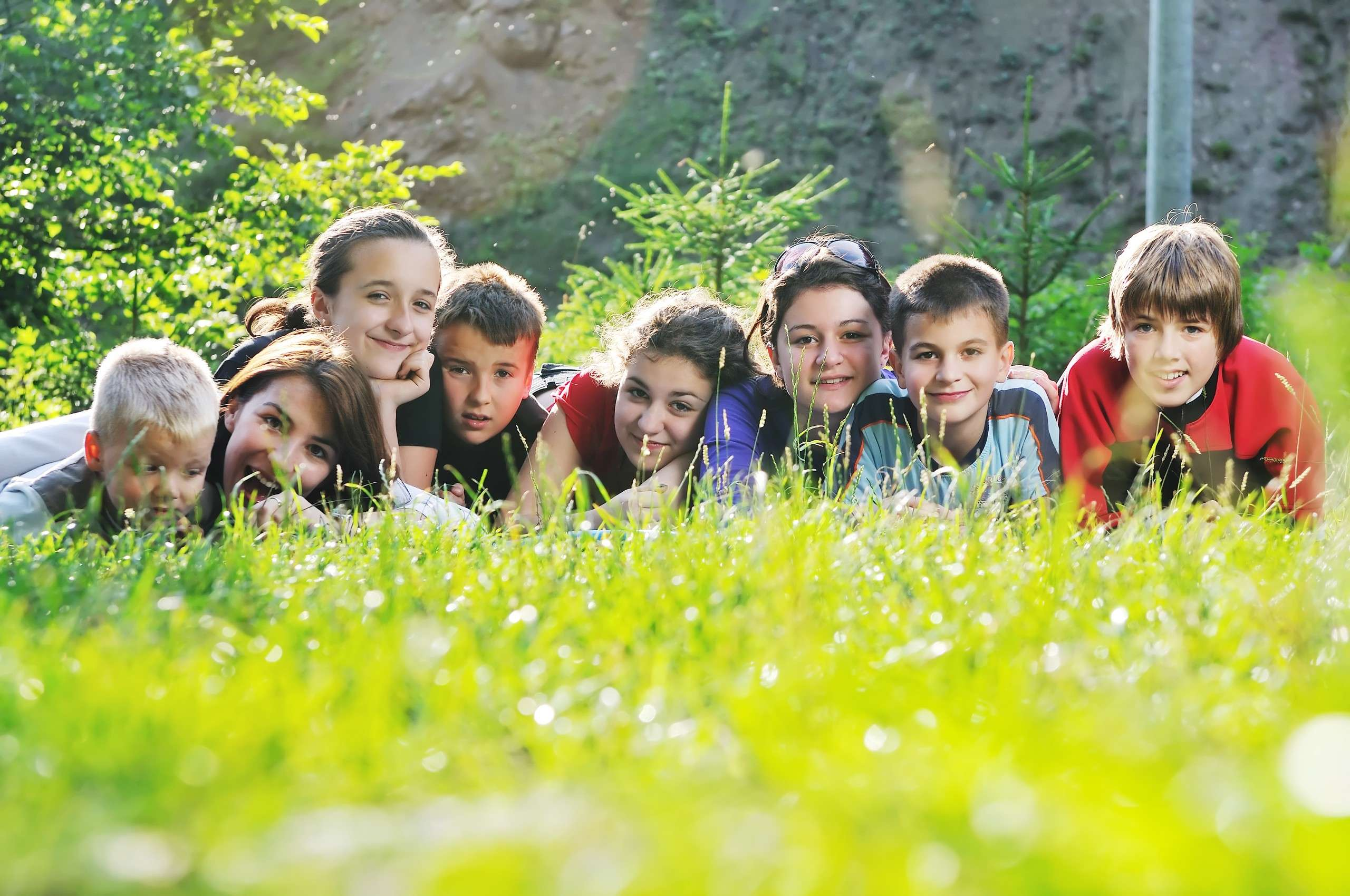 happy children group have fun outdoor in nature at suny day