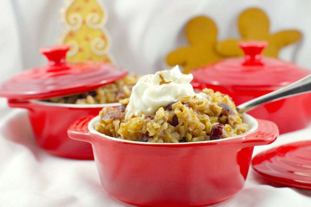 cranberry gingerbread rice pudding