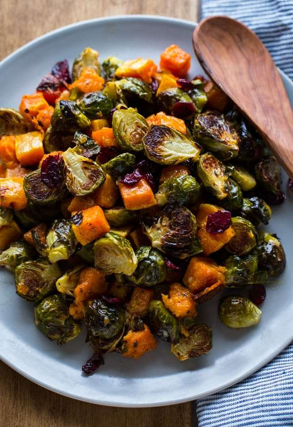 plate with roasted Brussel sprouts