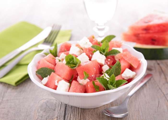 Watermelon Fruit Salad with Mint and Feta